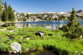 image of beartooth  - Alpine lake along the Beartooth Highway in Wyoming - JPG