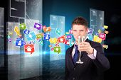 picture of hologram  - Businessman holding a champagne glass against hologram on black background with hexagon pattern - JPG