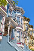 stock photo of victorian houses  - San Francisco Victorian houses in Pacific Heights of California USA - JPG