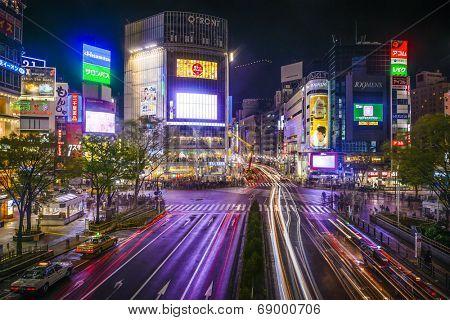 TOKYO, JAPAN - MARCH 30, 2014: Shibuya Ward at Shibuya crossing is one of Tokyo's major nightlife and fashion centers.