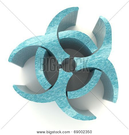 Blue Biohazard Radiation Symbol In Isolated Background, Create By 3D