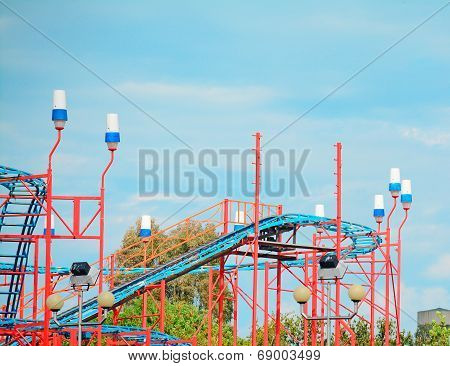 Roller Coaster On A Cloudy Day