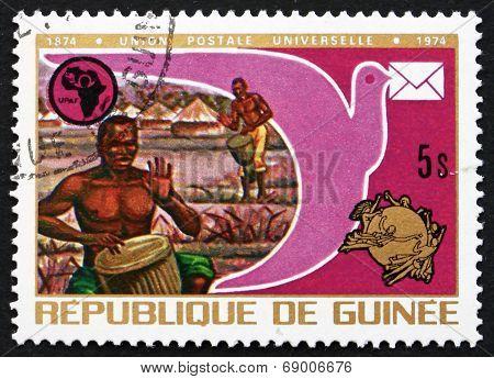 Postage Stamp Guinea 1974 Drummers, Pigeon