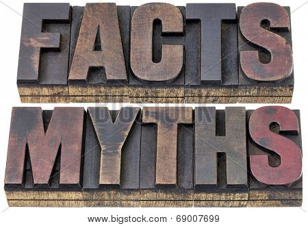 facts and myths - isolated words in vintage letterpress wood type with ink patina