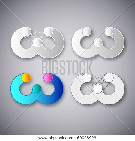 Abstract Vector Combination of Letter W