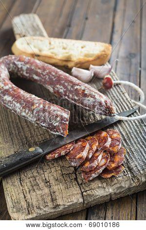 Spanish Chorizo Sausage On The Cutting Board
