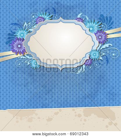 Blue Vintage Ragged Paper And Flowers