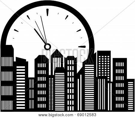 clock and city landscape