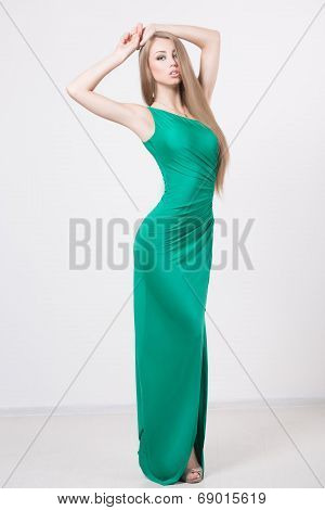 Woman in beauty fashion green dress