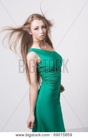 Woman in beauty fashion green dress