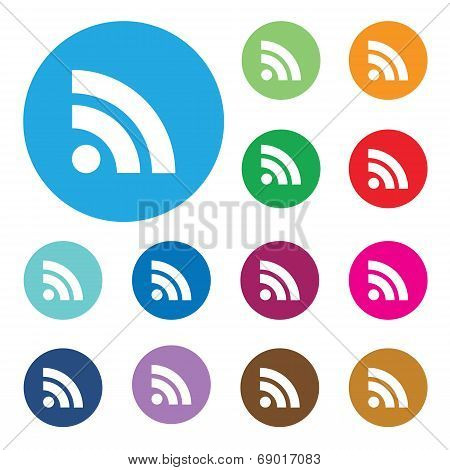 web button with RSS feed sign.Vector illustration.