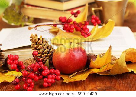 Books and autumn leaves on wooden table close-up