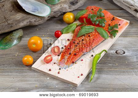 Seasonal Salmon Prepared For Cooking