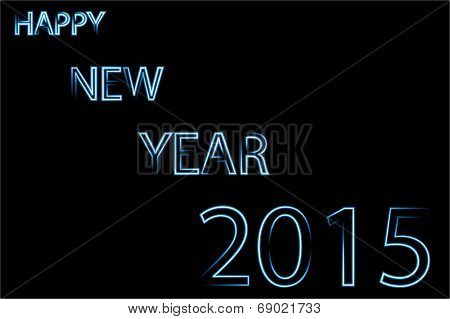 Happy new year 2015 blue neon