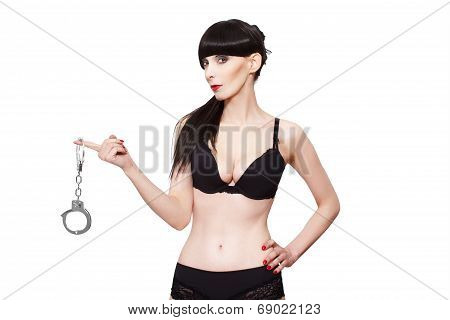 Woman In Underwear Holding Handcuffs