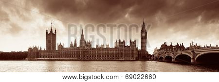House of Parliament panorama in Westminster in London.