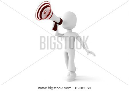 3d man speaking into a big megaphone