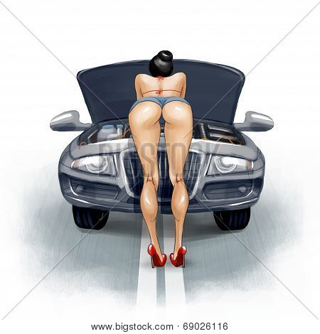 Sexy girl repairs the car