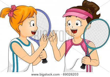 Illustration of a Pair of Girls Doing a High Five
