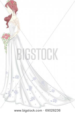 Illustration of a Bride Wearing a Bridal Gown with a Shabby Chic Design