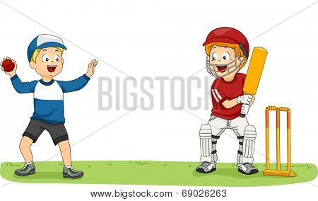 Illustration Featuring Two Little Boys Practicing for the Cricket League