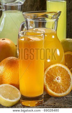 Orange juice and lemonade