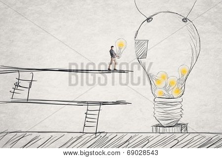 Put small ideas into big one, concept of idea, creation, hard work etc.