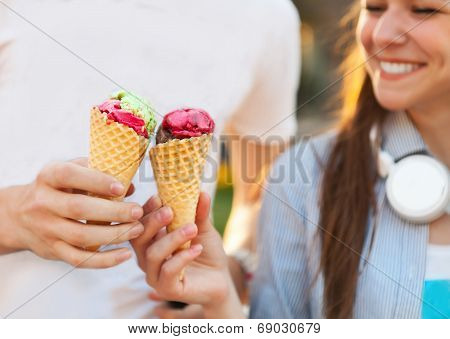 Cute Young Beautiful Teen Couple In City Near University With Ice Cream