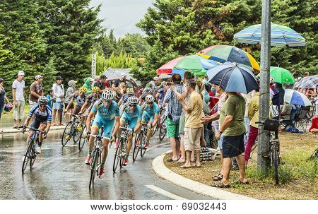 The Peloton In A Rainy Day