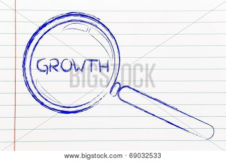 Finding Growth In Business, Magnifying Glass Design