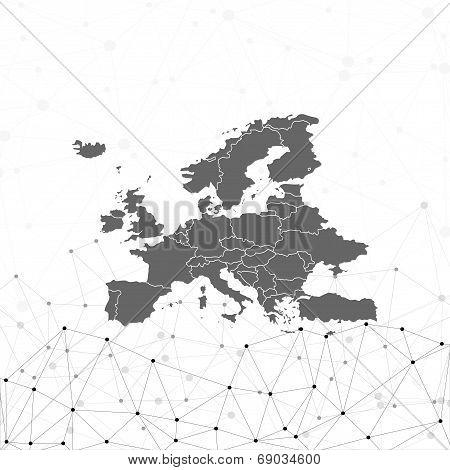 Europe map background vector, illustration for communication