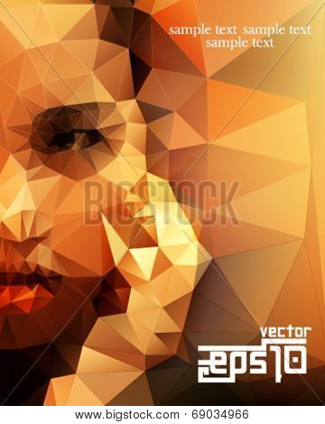 eps10 vector polygon shape half face woman background