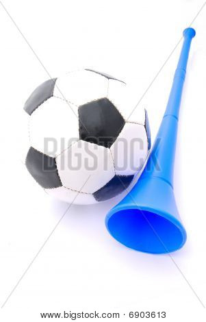 Soccer ball and Vuvuzela horn