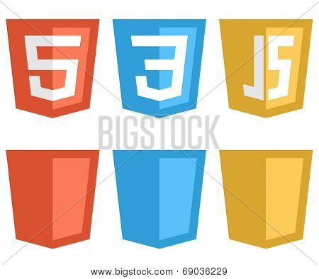 Color web technology shield shaped signs isolated on white background. HTTP5, CSS3 and Javascript icons.