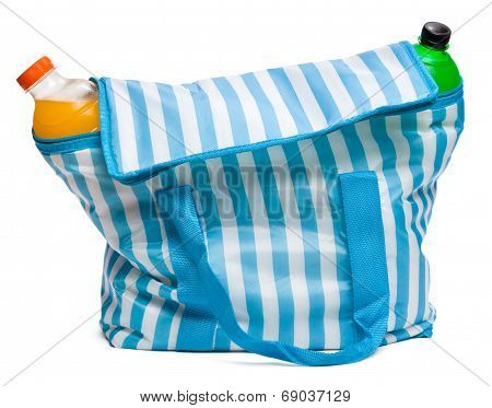 Closed Blue Striped Cooler Bag With Full Of Cool Refreshing Drinks