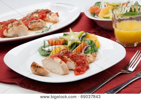 Chicken Breast With Citrus Salad.
