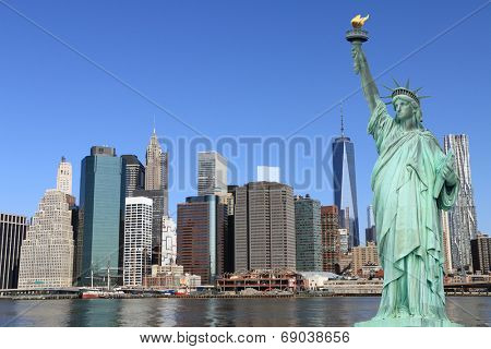 Manhattan Skyline and The Statue of Liberty, New York City