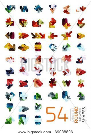 Vector mega collection of geometric web boxes 54 items - corporate abstract business templates - brochures, presentations, web backgrounds, print productions