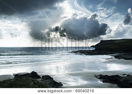 Polzeath Beach In Cornwall England