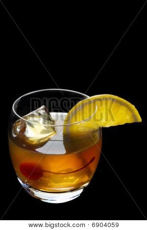 Old Fashioned Cocktail On A Black Background