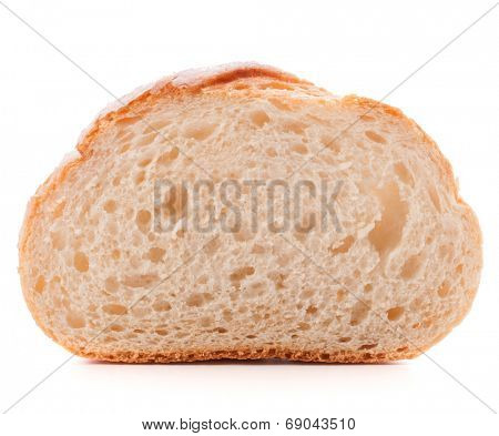 Hunk or slice of fresh white bread isolated on white background cutout