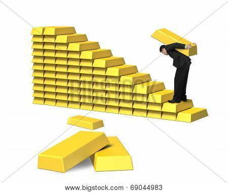 Man Carrying Bullion On Golden Stairs