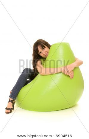 Smiling Woman Embrace Chair
