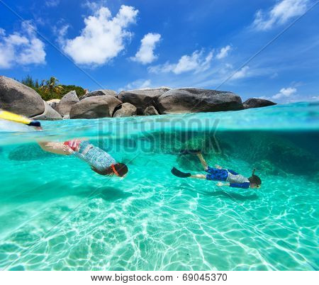 Split photo of mother and son family snorkeling in turquoise ocean water at tropical island of Virgin Gorda, British Virgin Islands, Caribbean