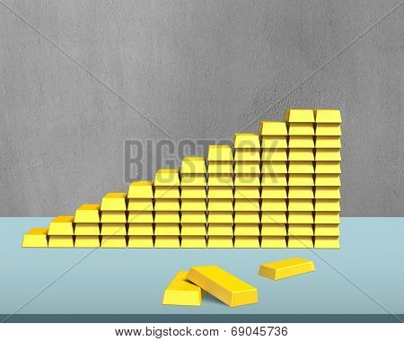 Bullion In Stairs Shape On Desk