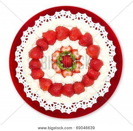 Homemade Strawberry Cream Cake Isolated