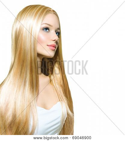 Beautiful Blond Girl isolated on a White Background. Blonde Long Smooth Healthy Hair. Beautiful Young Woman with blue eyes and professional makeup. Portrait