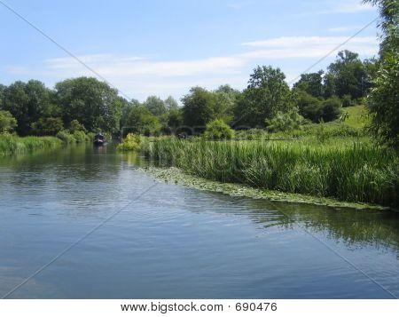 Narrowboat On River