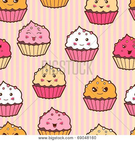 Seamless kawaii cartoon pattern with cute cupcakes.