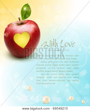 vector red apple with carved heart on a celebratory background